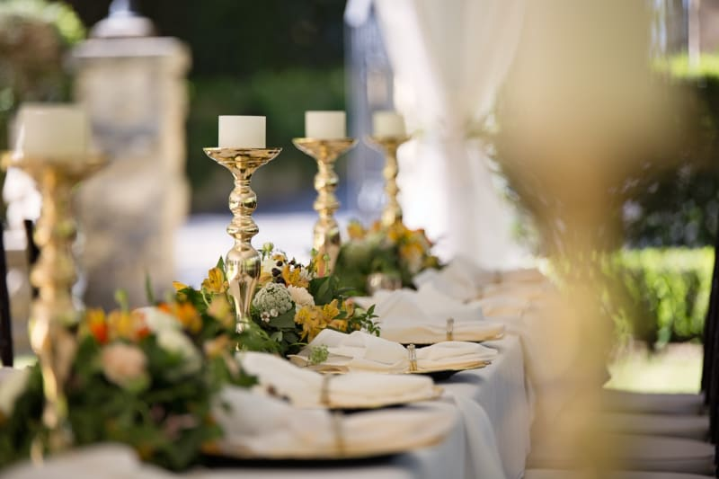 Candles wedding decorations as centrepiece of wedding table