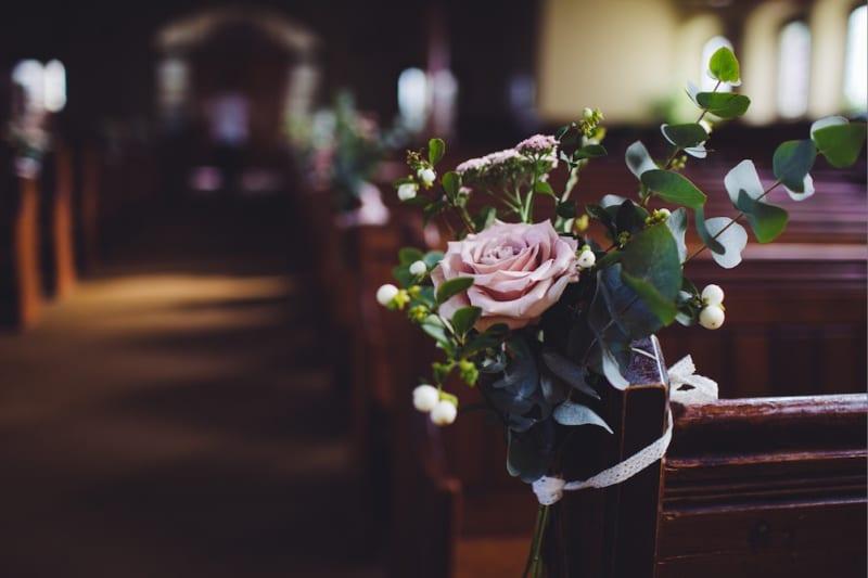 wedding florals in church