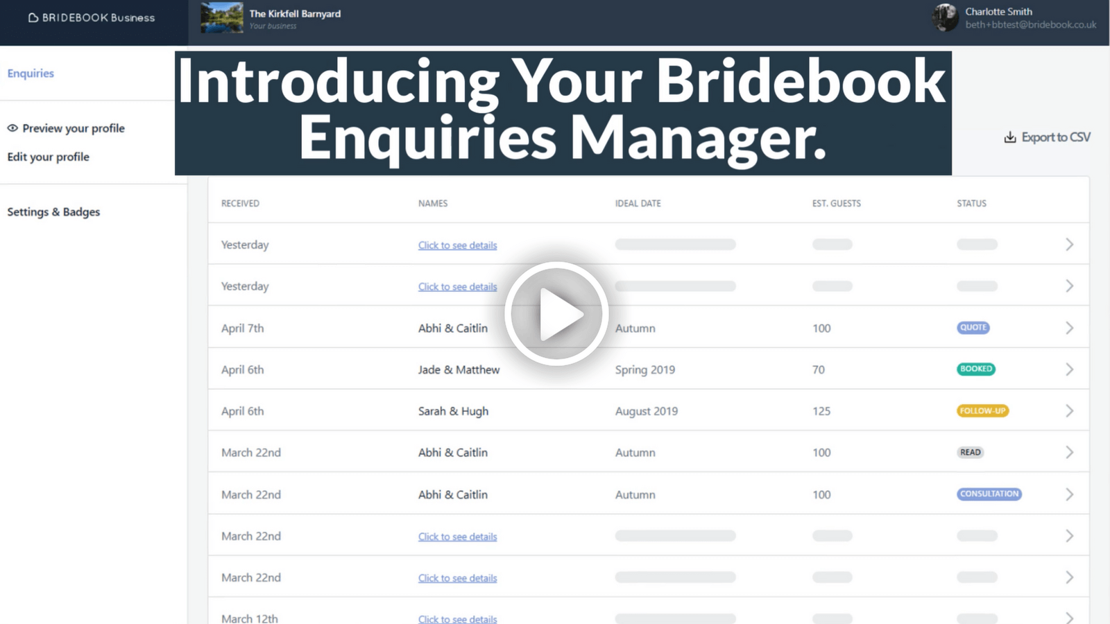 Bridebook.co.uk gives wedding industry professionals the tools they need to market and grow their wedding businesses