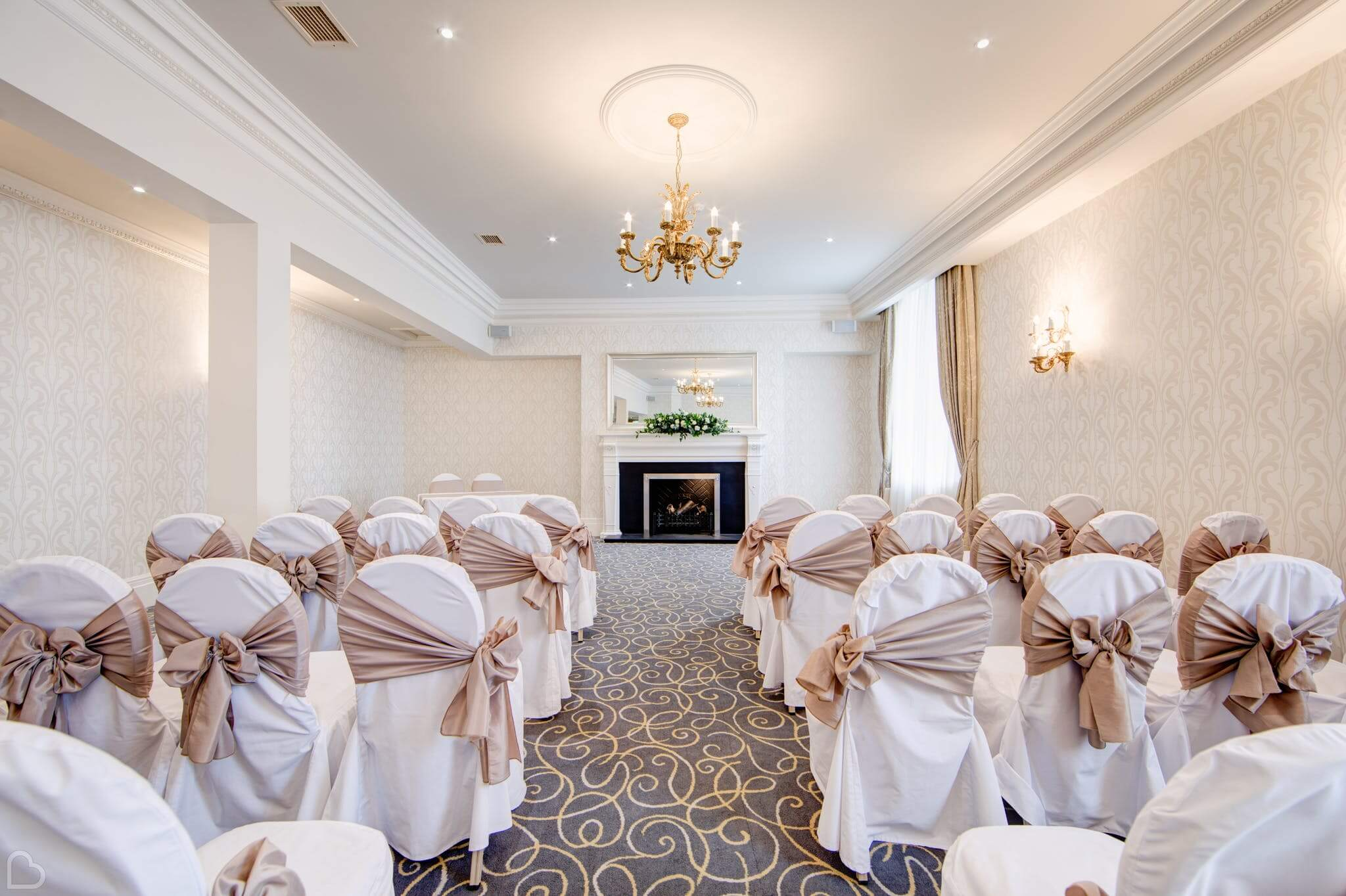 the grand hotel wedding venue ready for a wedding ceremony