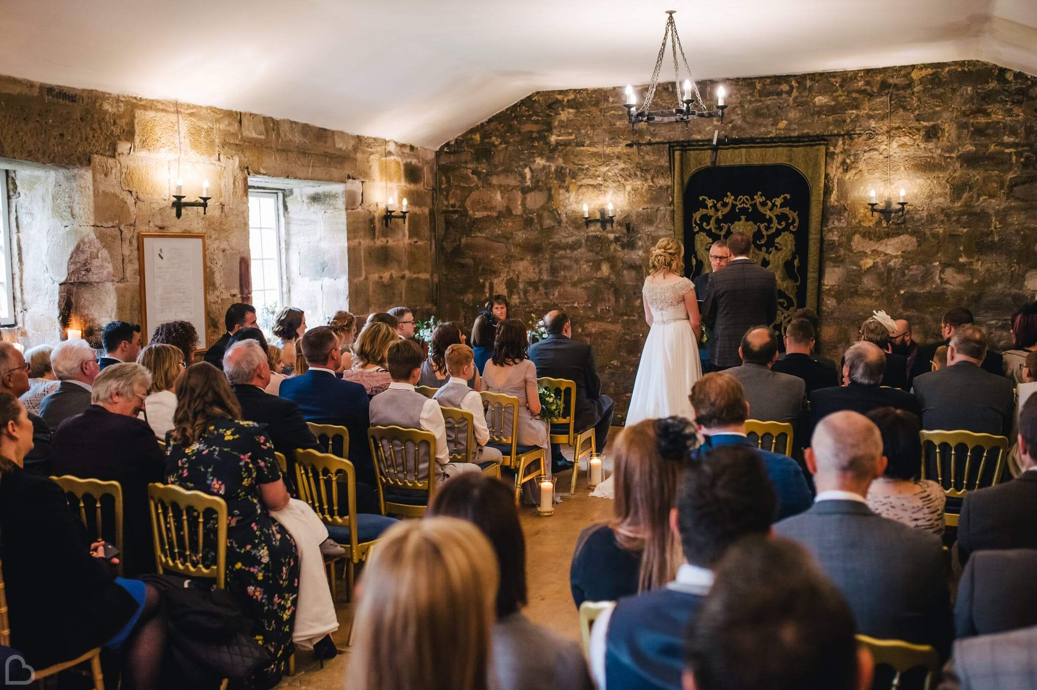 Wedding ceremony is process at Danby Castle. A beautiful place to get married in north yorkshire.