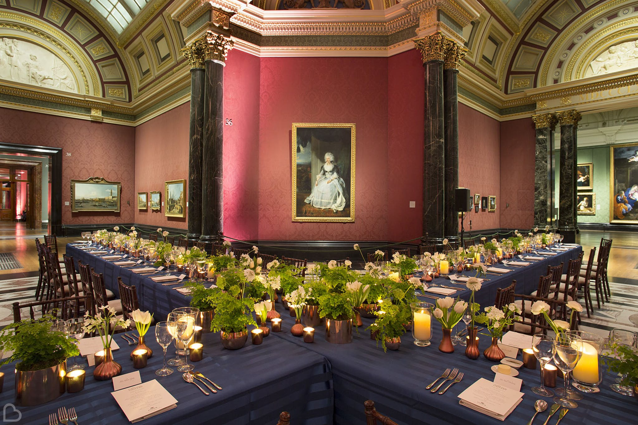 the national gallery set up for a winter wedding