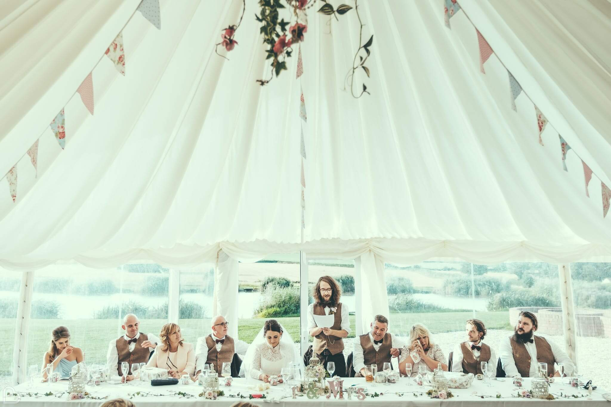 Wedding party taking place at the quantock lackes marquee, a marquee wedding venues in the uk