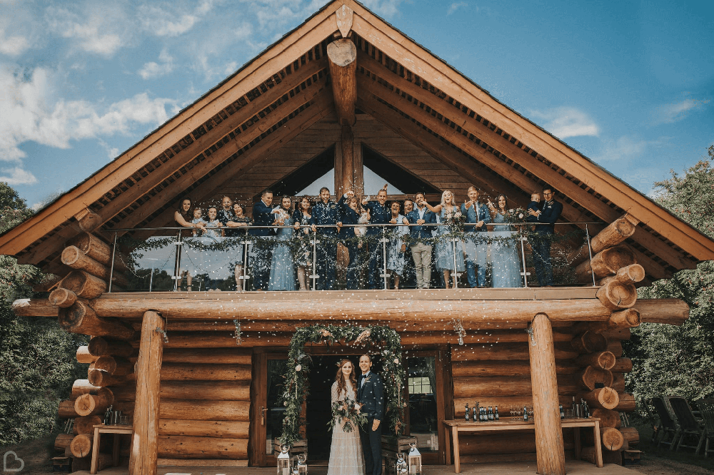 hidden river cabins wedding party. a marquee wedding venue in the uk