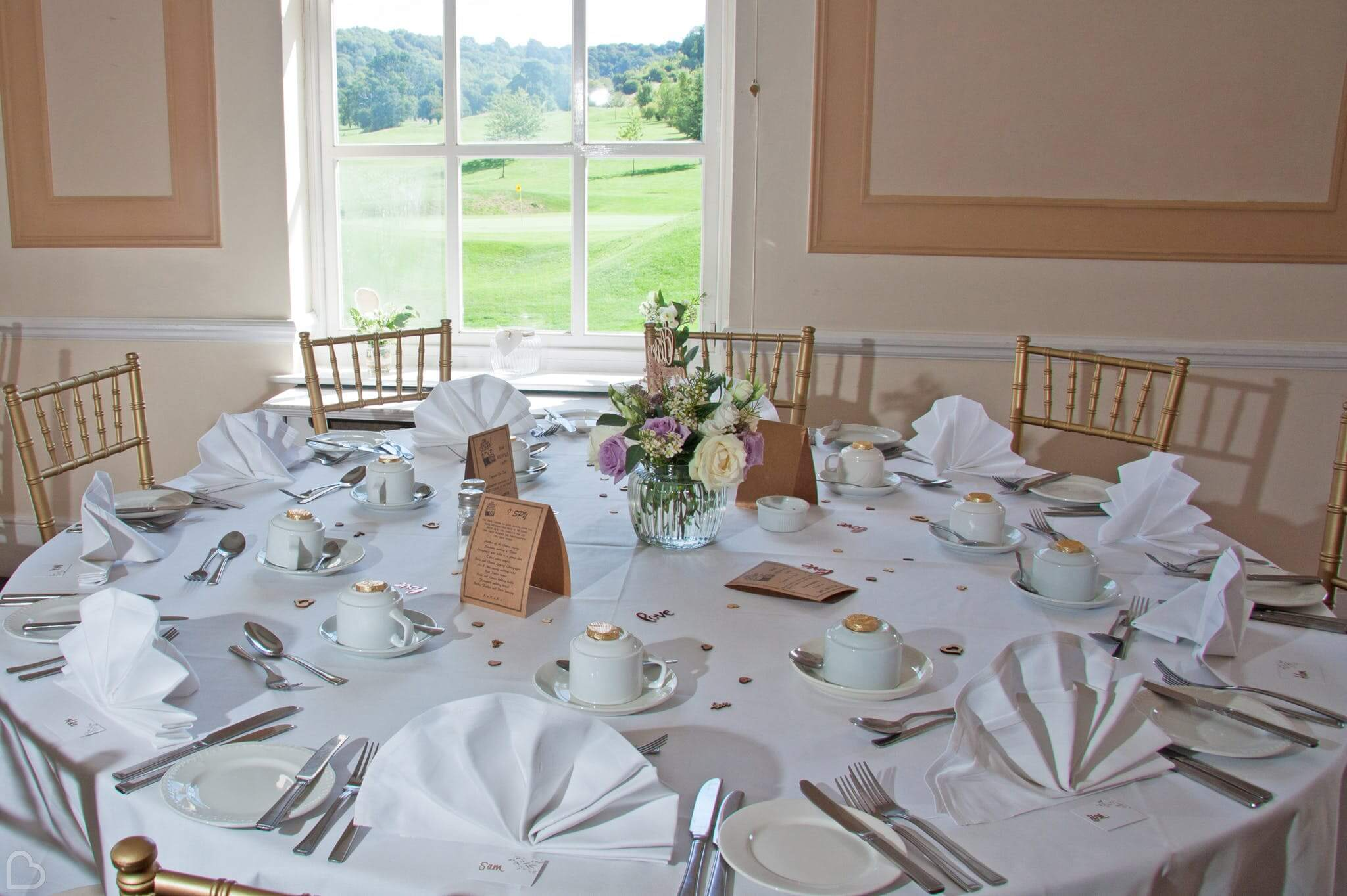 table set up beautifully at woldingham golf club