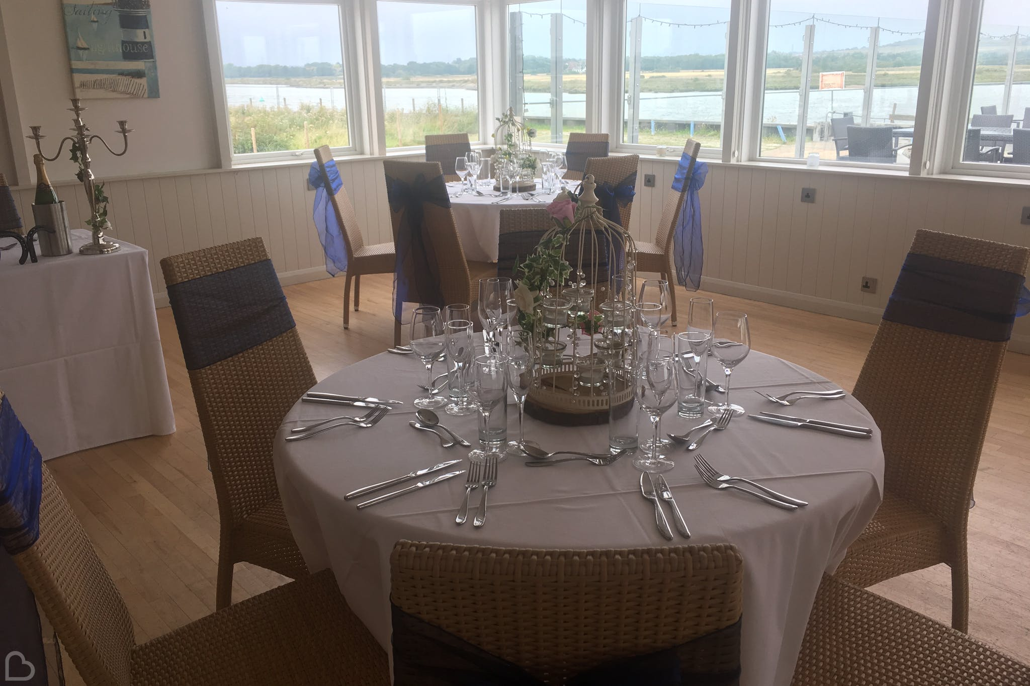 brandy hole wedding venue with tables set for wedding lunch