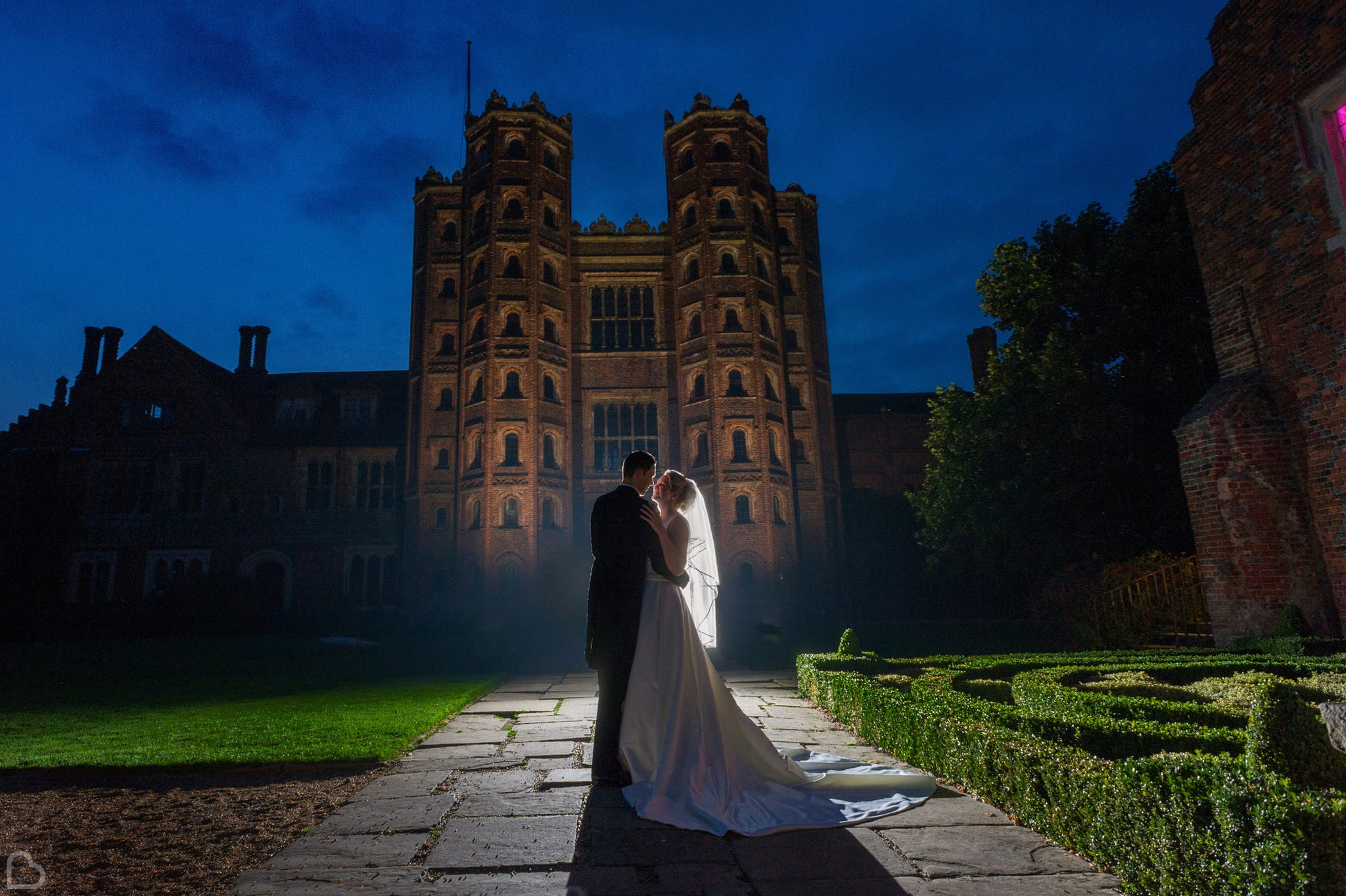 layer marney tower at night