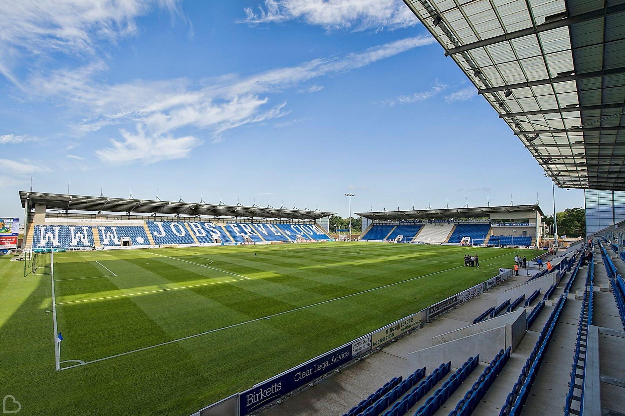 Colchester United Football Club stadium on a sunny day