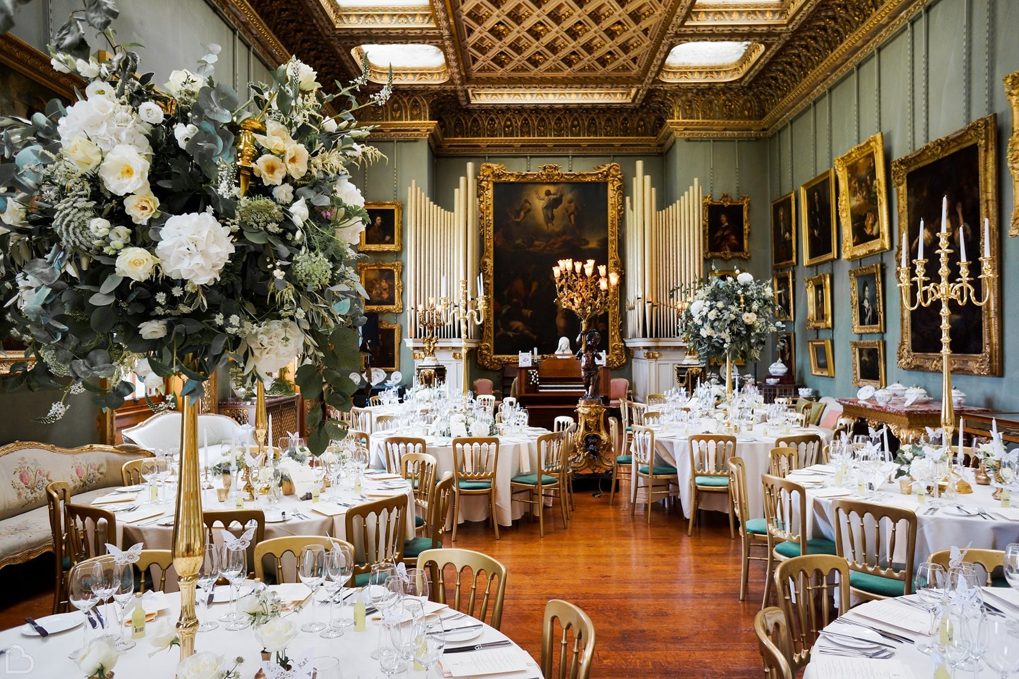 Somerley dining room set up for wedding.