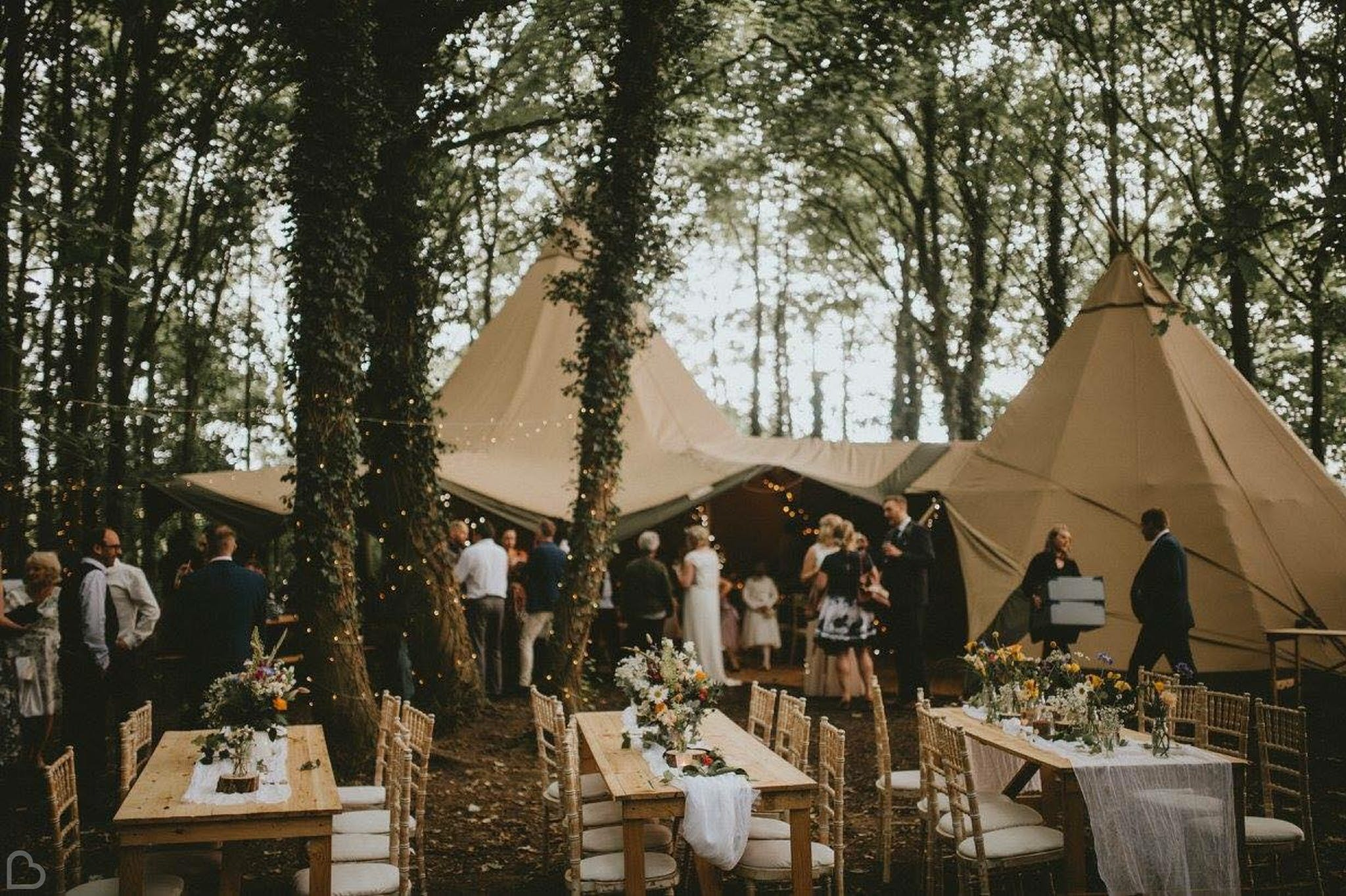 Rustic wooden seating at stunning outdoor woodland wedding venue