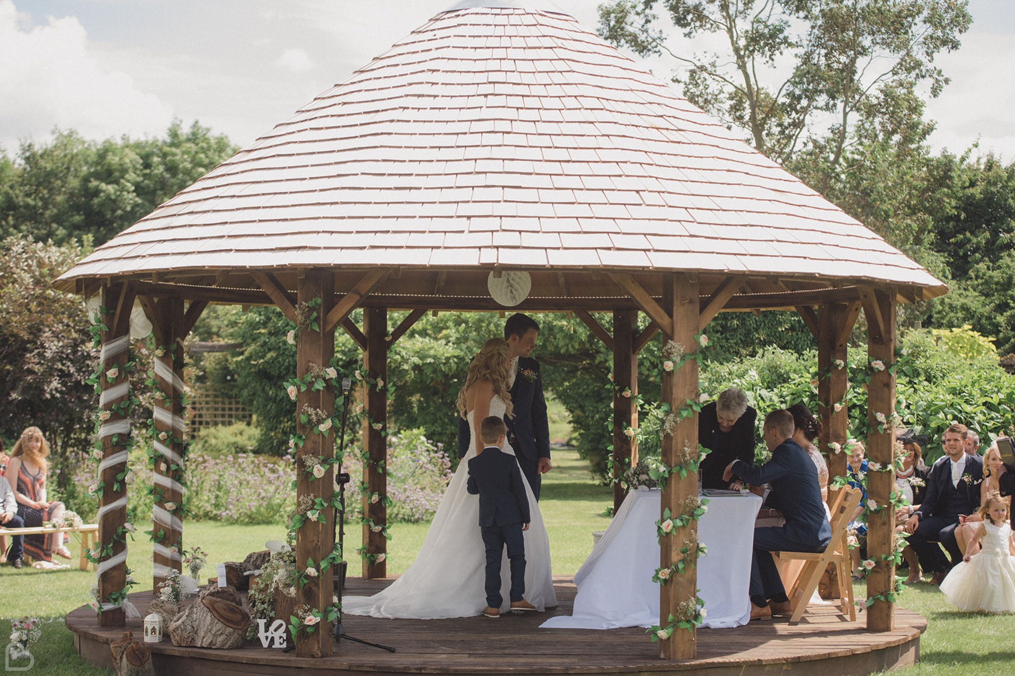 Gazeebo at The Garden, a woodlands wedding venue in Kent.