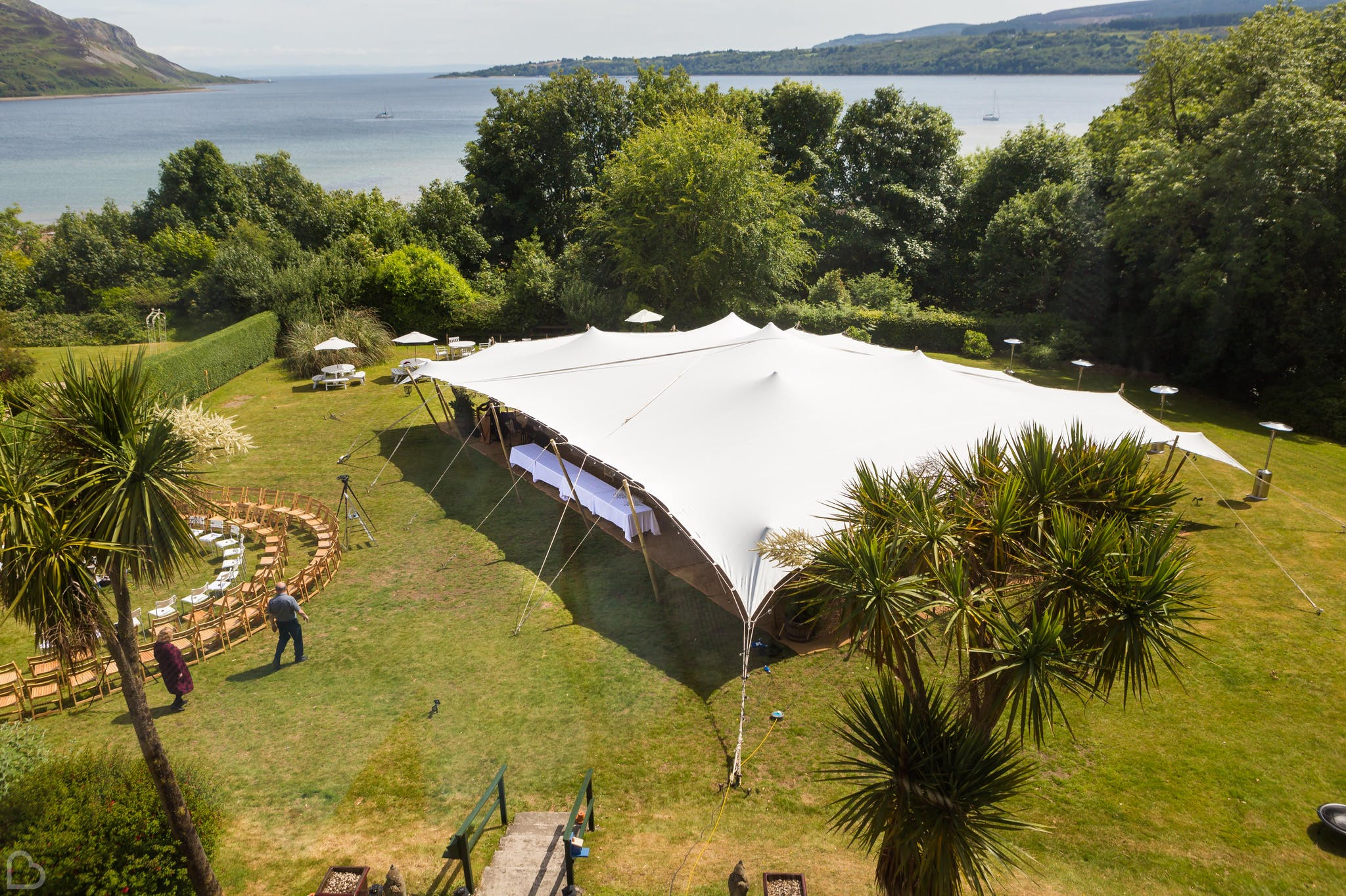 The Arran Lodge and lake. A beautiful woodlands wedding venue in North Ayrshire.