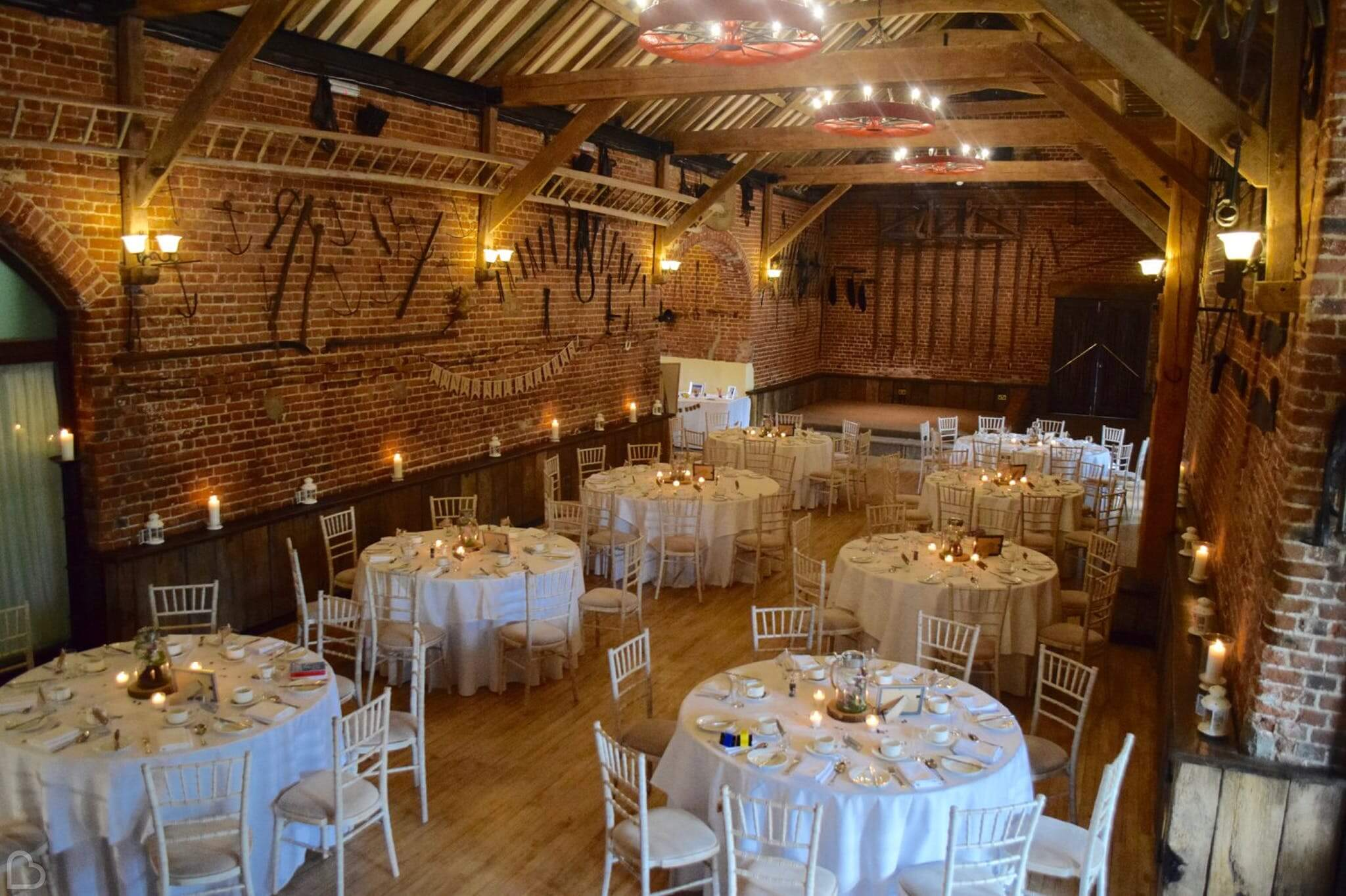 Hunters Hall ready for a wedding dinner.