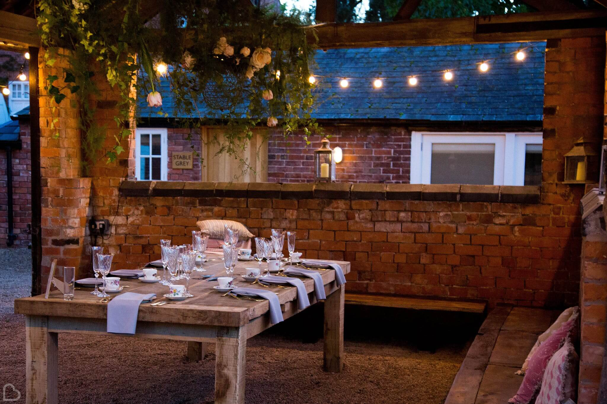 Iscoyd Park with fairy lights set up for an intimate wedding dinner