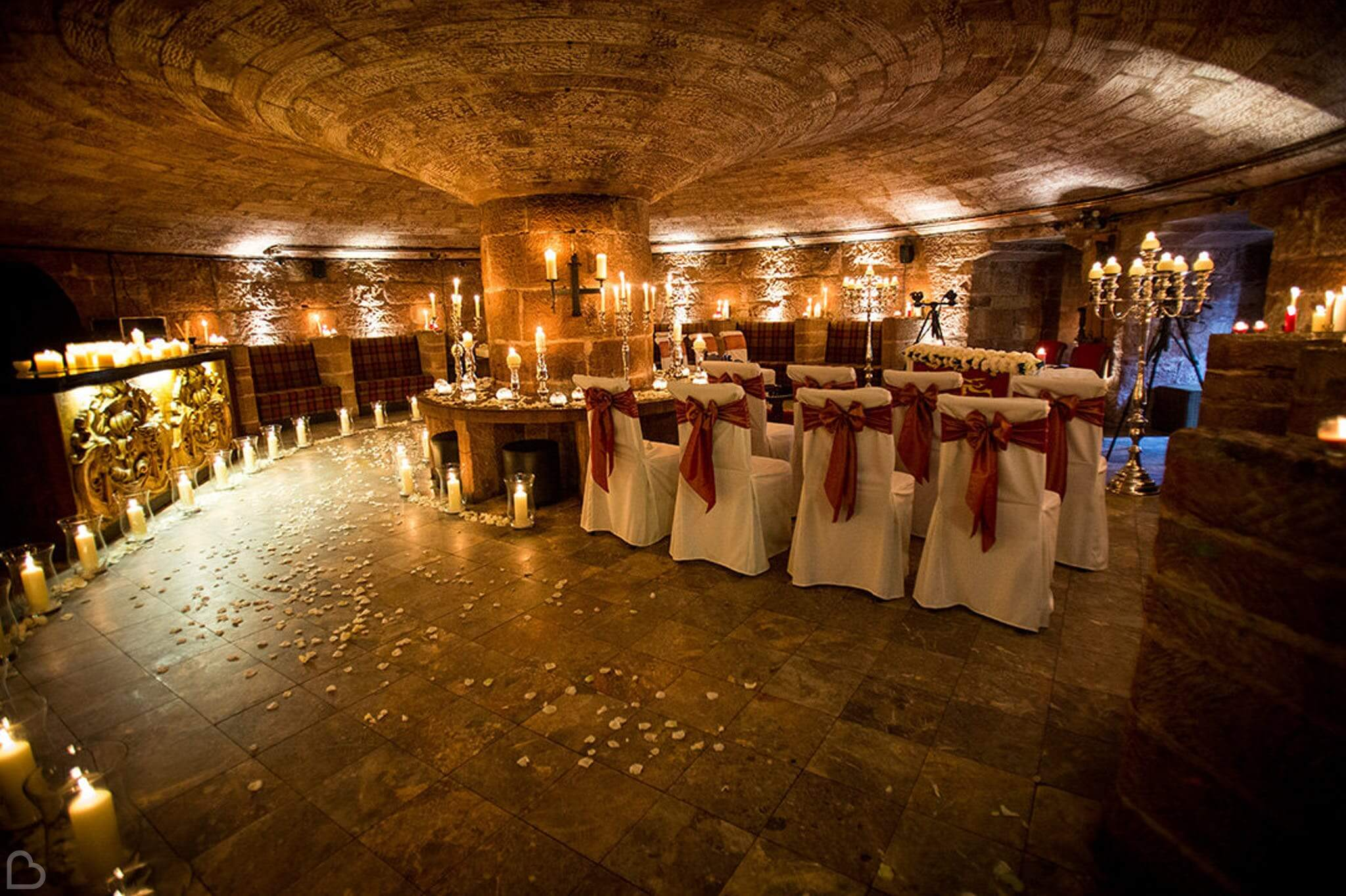 Medieval style dining room in Peckford Castle, an exclusive use wedding venue in Cheshire.