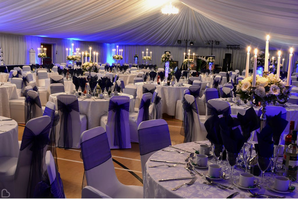 Purple themed wedding at Lordswood Leisure Centre.
