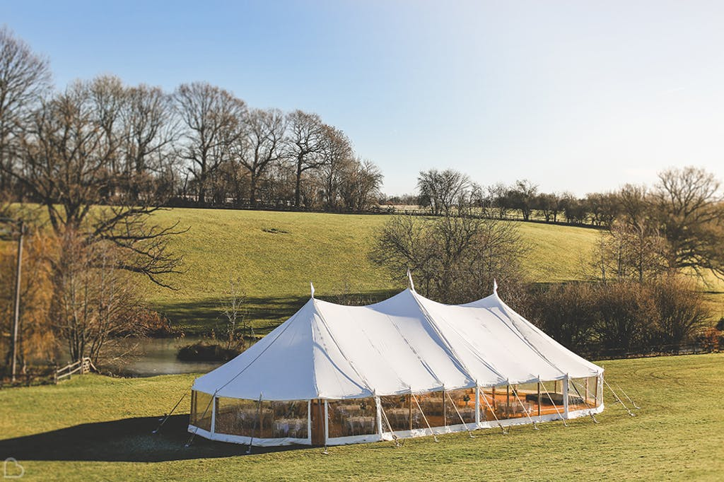 Marquee in the lawn at greenhill farm.