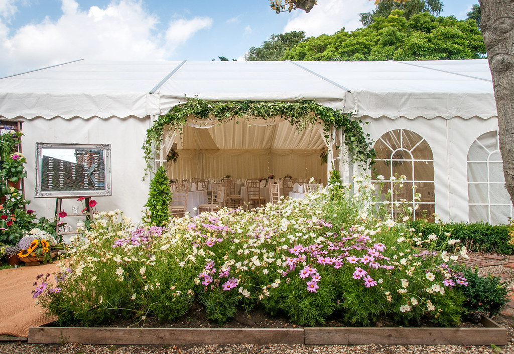 Marquee set up for a wedding at St. Martin's Priory