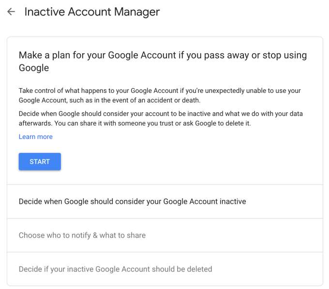 "Screenshot of Google Settings page with the heading: ""Make a plan for your Google Account if you pass away or stop using Google"""