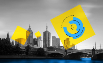 Melbourne cityscape with the event logo over