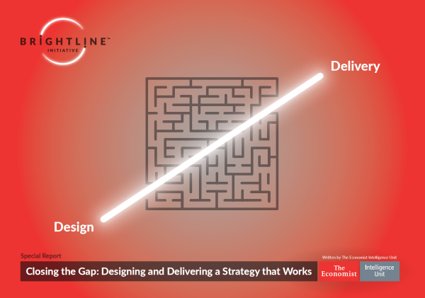 A bright line, connecting design and delivery words, over a maze