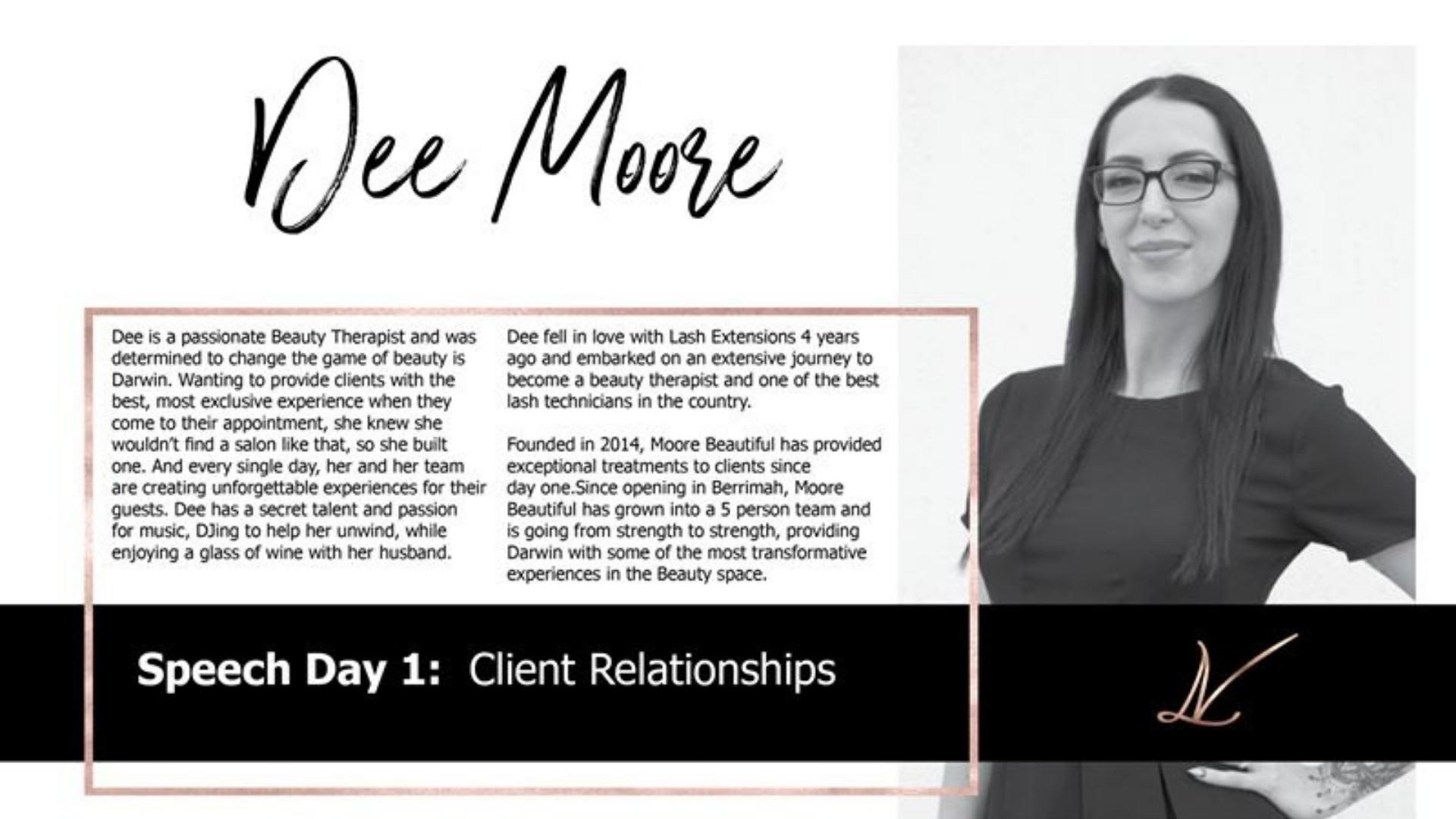 Dee Moore Speaking at Lash Vision 2019