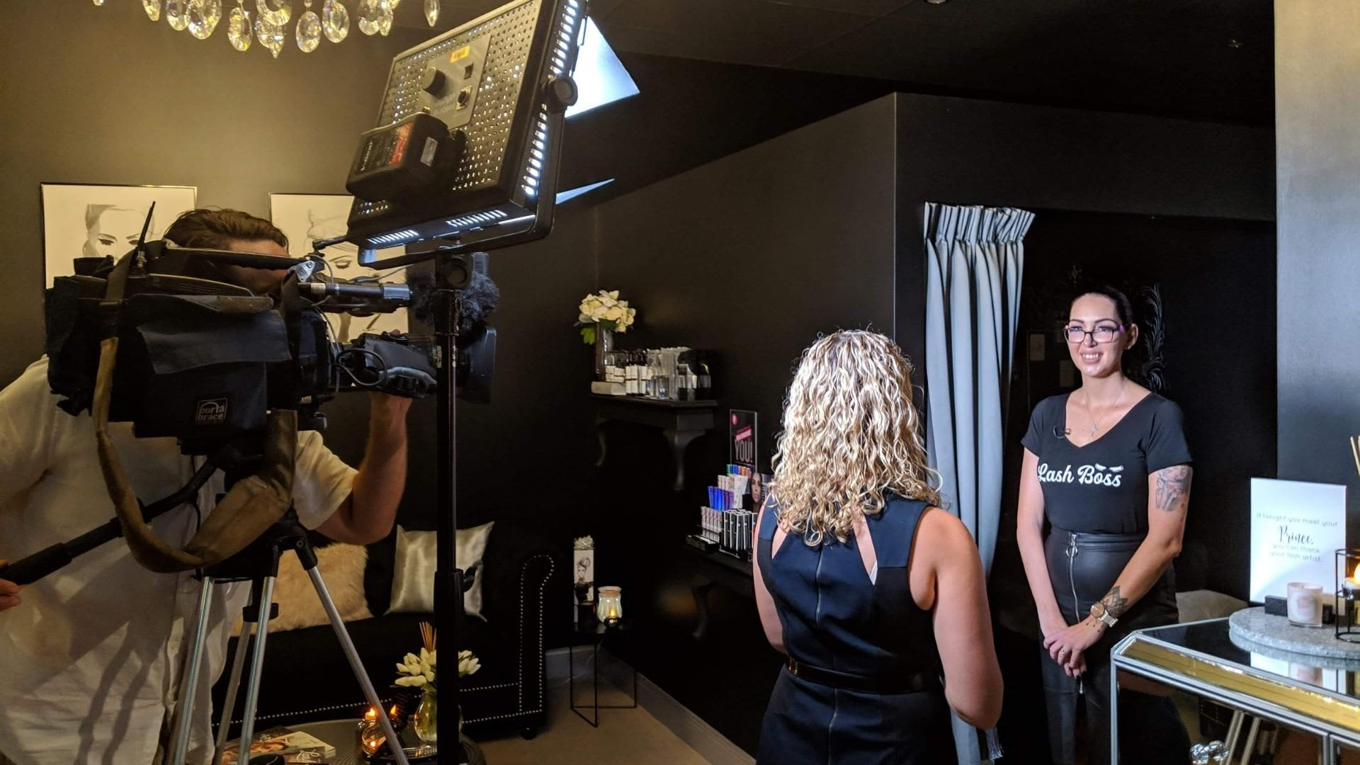 Dee being interviewed by Channel 9 after winning NALA Lash Studio of the Year 2019