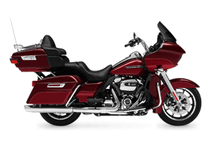 A red Harley Davidson highway cruiser