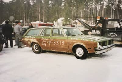 bristol auto station wagon in ice race on Norway Bay QC, circa 1974