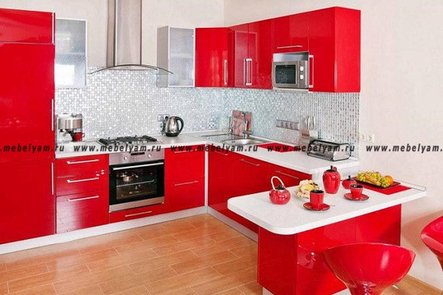 Изготовление, ремонт, модернизация торговой и корпусной мебели в Москве - Кухня на заказ (МДФ) Красный