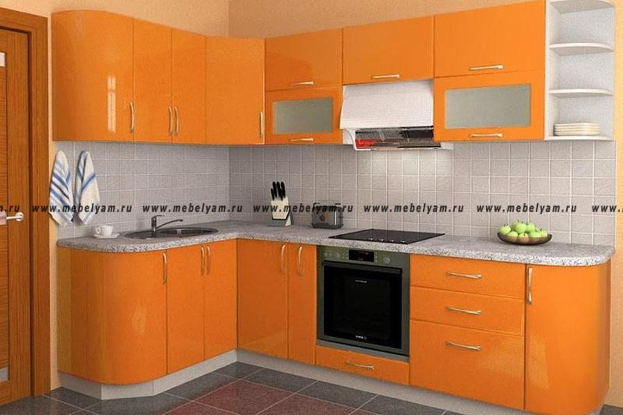 Изготовление, ремонт, модернизация торговой и корпусной мебели в Москве - Кухня на заказ (МДФ) Оранжевый