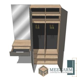 Изготовление, ремонт, модернизация торговой и корпусной мебели в Москве - Шкаф Монако Оникс 3 + столик с зеркалом