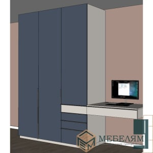 Шкаф Альпийский Шёлк + рабочий стол