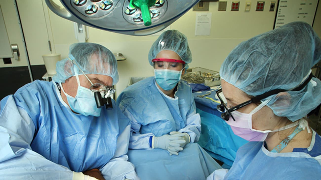 John Ingari, left, operates with surgical technician Lauren Powell, middle, and orthopaedic surgery resident Lara Atwater, right.