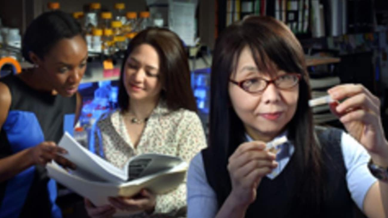 Koko Ishizuka, right, together with research program manager Yukiko Lema, center, and research assistant Cecilia Higgs, is tapping the unique characteristics of olfactory neurons to study dynamic changes in patients with neuropsychiatric disorders.
