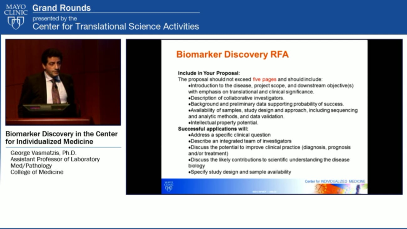 Grand Rounds: Biorepositories and Biobanking in the Center for Individualized Medicine