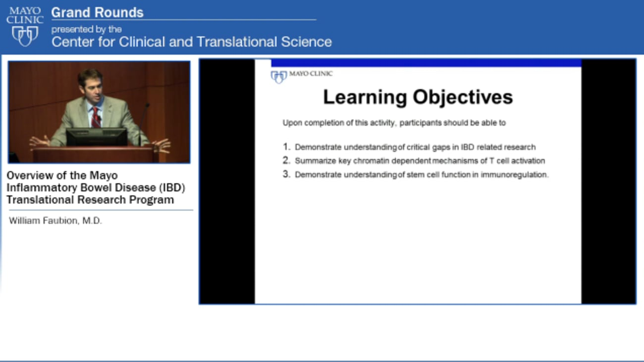 Grand Rounds (CME): Overview of the Mayo IBD Translational Research