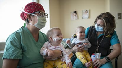 'Miracle babies': Formerly conjoined twins Abigail and Micaela home for Christmas