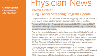 Physician News: Lung Cancer Screening Program Update