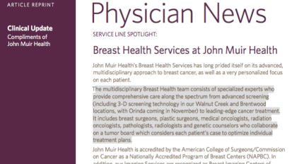 Physician News: Breast Health Services at John Muir Health