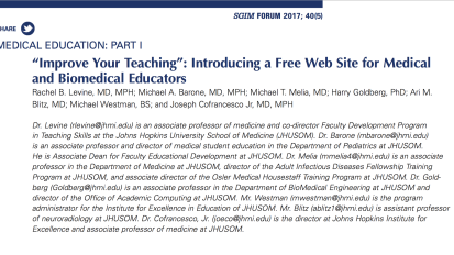 """Improve Your Teaching"": Introducing a Free Web Site for Medical and Biomedical Educators"