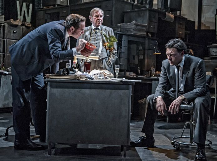 The Almeida Theatre production of 'Ink' with Bertie Carvel as Rupert Murdoch, Geoffrey Freshwater as Sir Alick McKay and Richard Coyle as Larry Lamb. (Photo by John Snelling/Getty Images)