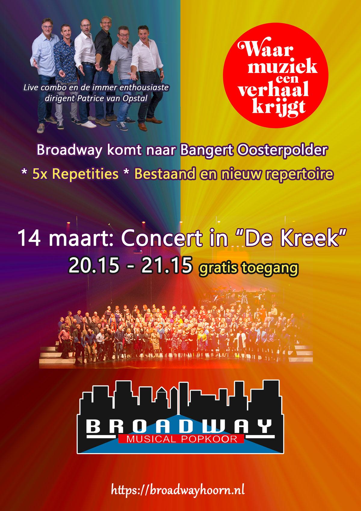 Concert De Kreek 14 maart