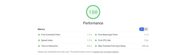Final results: Performance score up to 100. Details follow