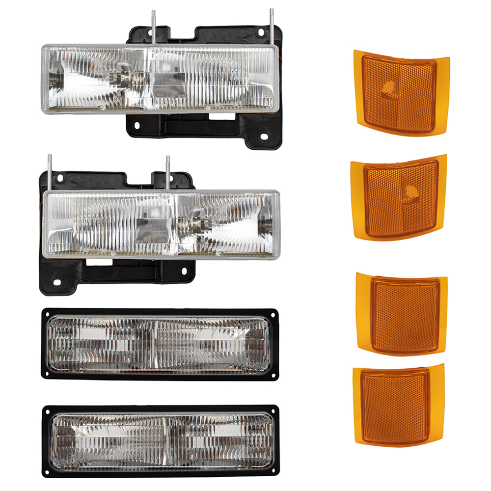 4 Pc Set Lower /& Upper Signal Side Marker Lights for Chevy Pickup Truck SUV w//Composite Headlamps Replaces 5977737 5977738 5977459 5977460