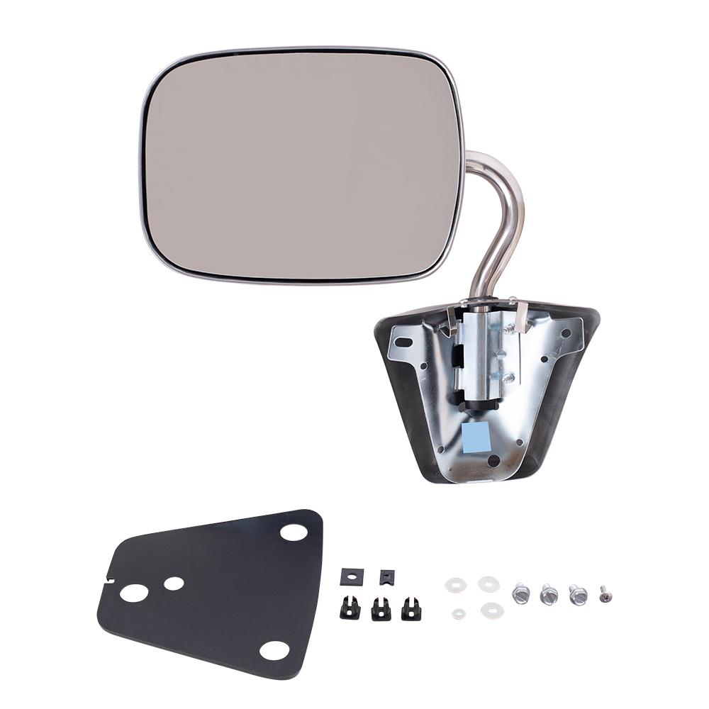 78 96 Chevrolet GMC Van Side View Manual Mirror Stainless Steel Below Eyeline