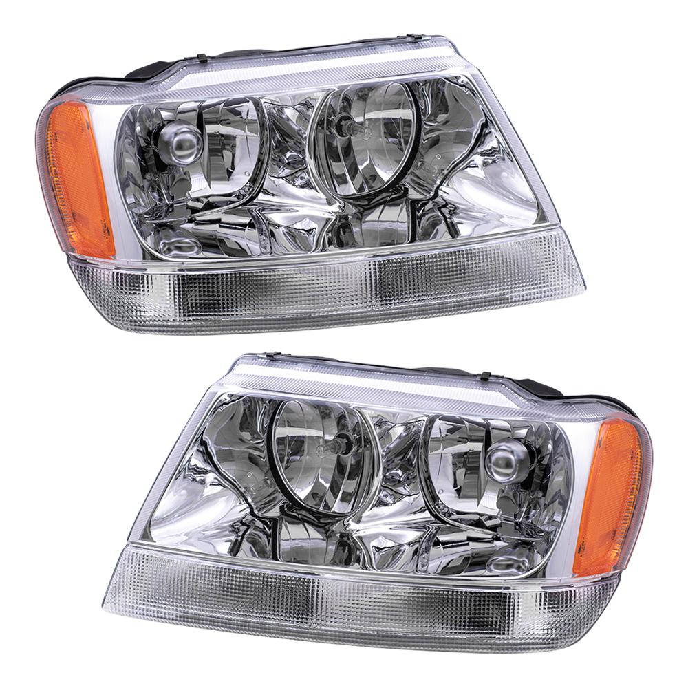 99 04 jeep grand cherokee set of headlights. Black Bedroom Furniture Sets. Home Design Ideas
