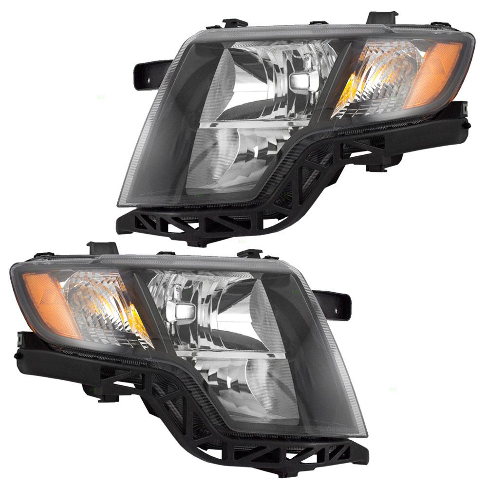 Ford Edge New Pair Set Headlight Headlamp Housing Assembly With Black Bezel Dot