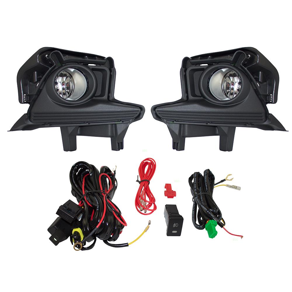 14 16 Toyota Highlander W O Led Daytime Running Lamps Set Fog Lights Clear Lens Bezels Bulbs Wiring Switch Kit Light