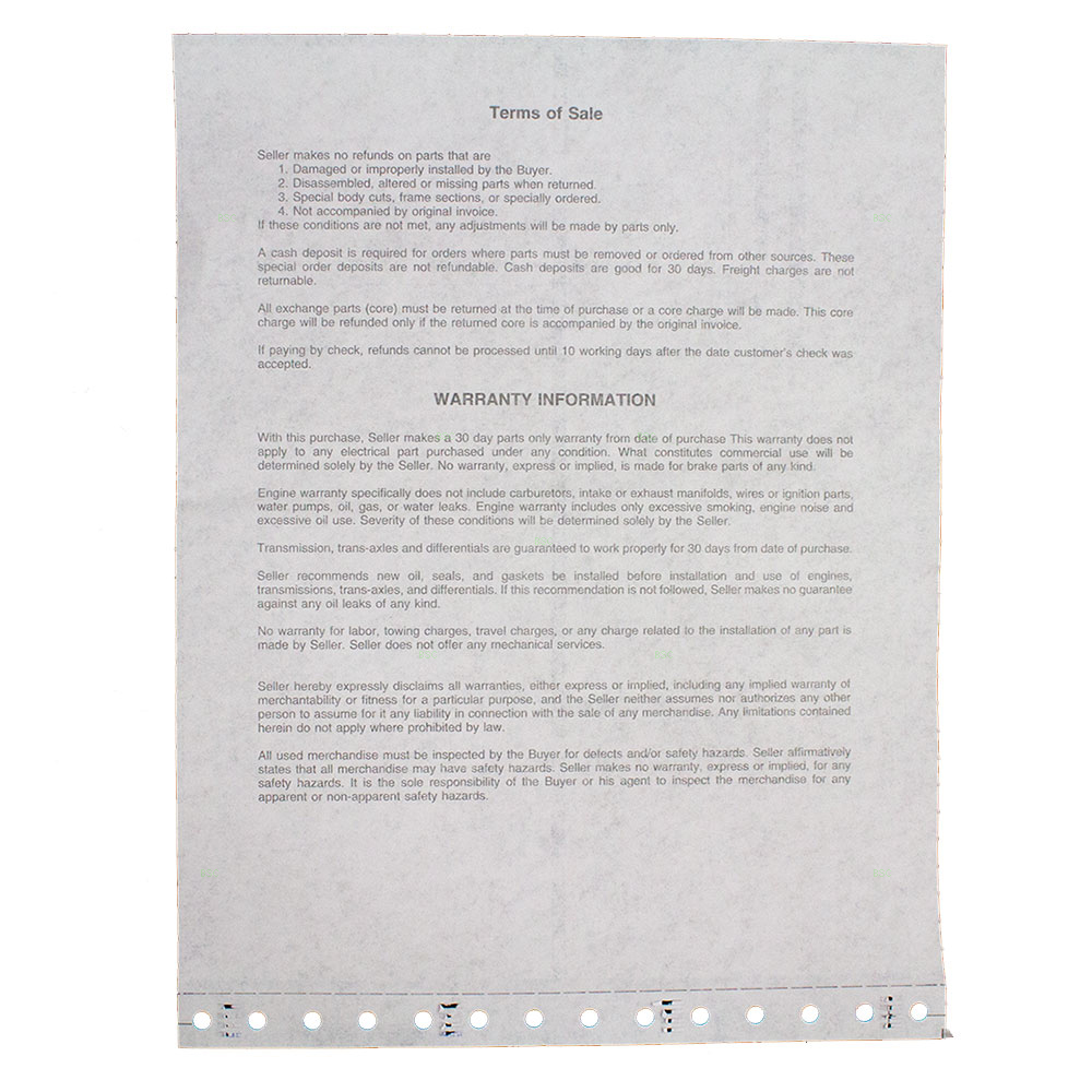 ... Picture of HOLLANDER - POWERLINK INVOICE 3 PART W/DISCLAIMER 1000 PER  BOX ...